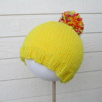 Yellow hand knit pom pom hat - many sizes, made to order