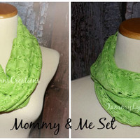 Mommy & Me Spring Apple Green, Lemon Yellow, and Tangerine Orange Crochet Hacci Sweater Knit Infinity Scarf Easter Photos Girls Accessories