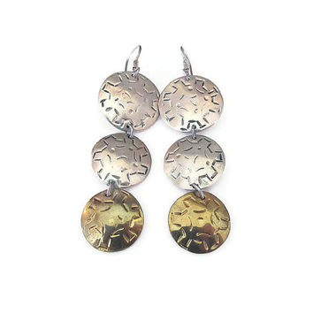 Laton Earrings, Taxco Mexico, Sterling Silver, Mexican Sterling, Gold Plated, Dangle Drop Earrings, Vintage Earrings, Vintage Jewelry