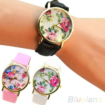 New Fashion Faux Leather Rose Flower Watch Dress Quartz Watches, cute, round dial, bracelet watch = 1931529476
