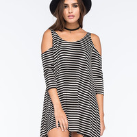 Socialite Striped Cold Shoulder Dress Black Combo  In Sizes