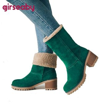Girseaby Women Boots Female Winter Shoes Woman Fur Warm Snow Boots Fashion Square High Heels Ankle Boots Black Green botas mujer
