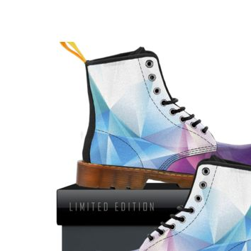 Rainbow Polygon Boots Womens Canvas