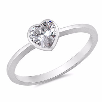 Sterling Silver CZ Simulated Diamond Bezel Heart Solitaire Ring