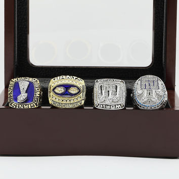 New York Giants Super Bowl Football Championship Replica Rings 4 Years Set