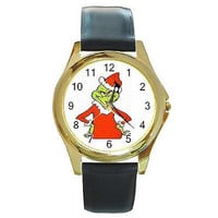 Christmas Grinch in Santa Cap on Gold Watch w/ Citizen Works & Leather Bands*