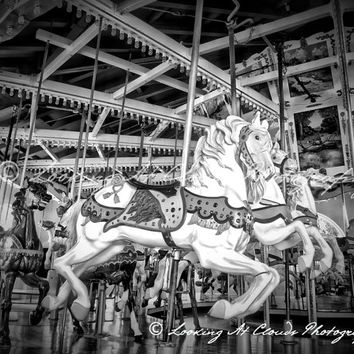 carousel art photo, vintage carnival, carousel horses black and white photograph, Balboa Park San Diego