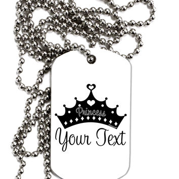 Personalized Princess -Name- Design Adult Dog Tag Chain Necklace