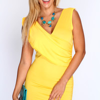 Yellow Crossover Front Sexy Party Dress