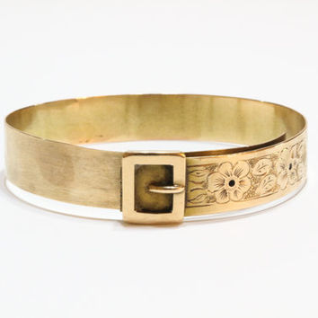Victorian Gold Filled Buckle Bracelet, Floral Engraved Bangle, Adjustable Sizing, 1800s, Antique Jewelry, Vintage Jewelry