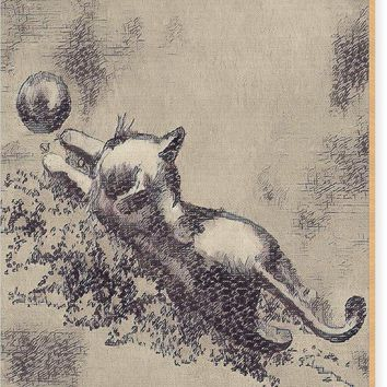 Kitten Playing With Ball - Wood Print