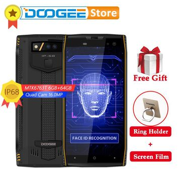 DOOGEE S50 4G Smartphone 18:9 5.7 inch 6G 64GB 5180mAh 4 Cameras 16MP Face ID MTK6763 Octa Core Android 7.1 IP68 Mobile Phone