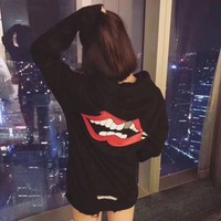 """Chrome Hearts"" Women Casual Fashion Personality Red Lip Horseshoe Letter Pattern Print Long Sleeve Hooded Sweater Tops"