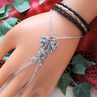 Silver Dragon Slave Bracelet, hand chain, bracelet ring, leather bracelet