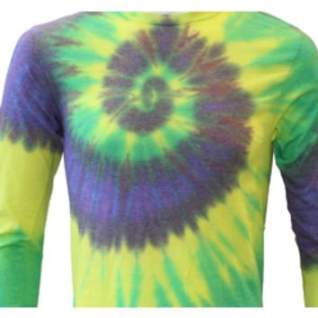 Mardi Gras Long Sleeve Tie Dye T-Shirt Size Large