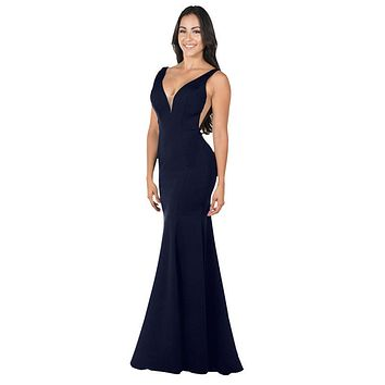 Deep V-Neck and Back Mermaid Long Formal Dress Navy Blue