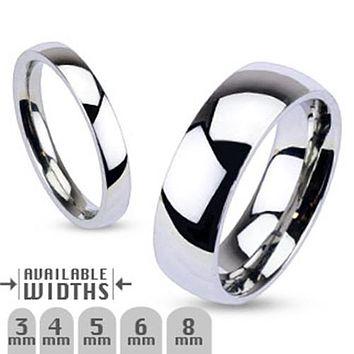 6mm Glossy Mirror Polished Traditional Wedding Band Ring 316L Stainless Steel
