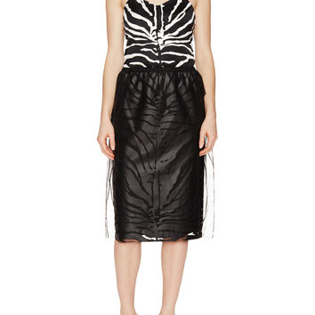 Carven Women's Zebra Mesh Midi Skirt - Black -