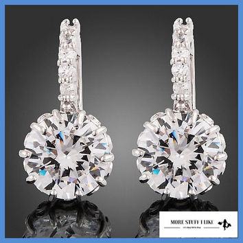 New Women's 18k White Clear Swarovski Crystal Zircon Cz Earrings