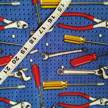 Flannel fabric with tools construction hammer wrench screwdriver pegboard cotton quilt print sewing material to sew crafting by the yard