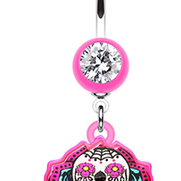 Sugar Skull Rose Belly Button Ring