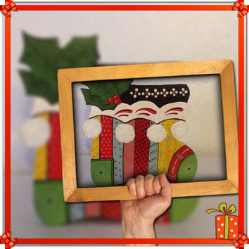 Vintage One of a Kind Handmade, Hand Painted by my DAD Christmas Boot Holiday Boot Candy Cane Holder-Holiday Decor-Gift Idea for Children