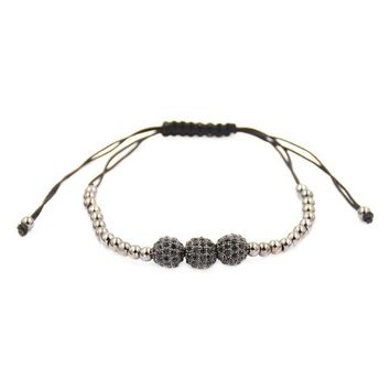 Bracelets 4mm Round Beads & 8mm Micro Pave Beads Briading Macrame Gift BK