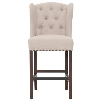 Fabric Upholstered Counter Stool With Wing Back Design, Beige And Brown