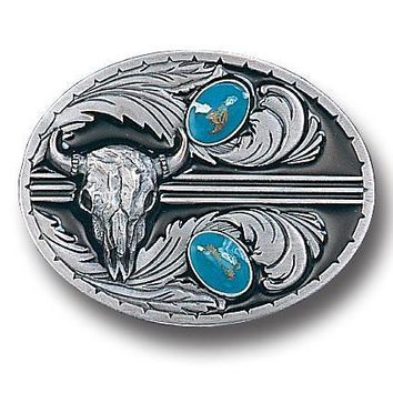 Sports Accessories - Stones with Buffalo Skull Enameled Belt Buckle