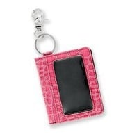 Caprice PINK Faux crocodile texture Keychain Wallet ID Holder key chain
