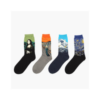 4-Pack Oil Painting Cotton Crew Socks,Mona Lisa