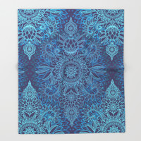 Aqua, Cobalt Blue & Purple Protea Doodle Pattern Throw Blanket by Micklyn | Society6