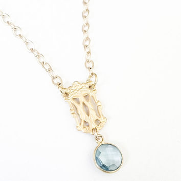Dainty Blue Quartz Dangle Charms Necklace, Vintage Inspired, Bohemian Jewelry, Gold, Layering, Free USA Shipping