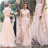 2015 Vintage Lace Wedding Dresses Champagne Ruffles Bridal Cap Sleeve Deep V neck zipper Layered Lace Bridal Gowns