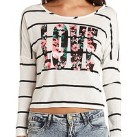Love Striped High-Low Floral Graphic Top