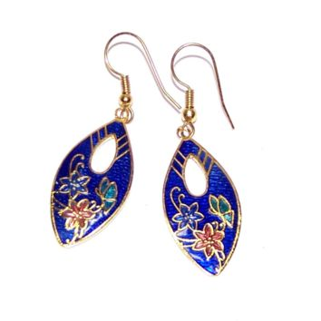 Vintage Cloisonne Earrings - Blue Cloisonne - Butterfly / Flower - Vintage New Old Stock