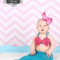 Mermaid Photography Prop sizes from newborn up to 12-18 months