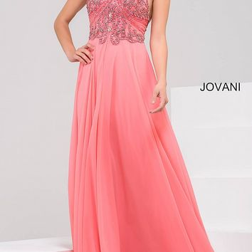 Coral chiffon floor length dress with beaded bodice and a halter neckline.