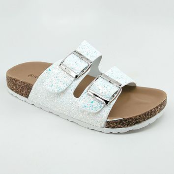 Women's White Glitter Double Buckle Sandal