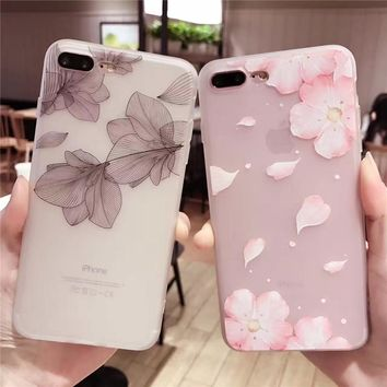 Cherry petals 3D Relief Silicone Case for iphone 7 7Plus lace leaves TPU Case For iphone 6 6s 6plus 6splus back cover