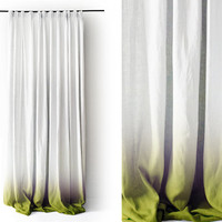 Ombre White Linen curtain panels. Green fade to white. Pinch pleat Number 3 by Lovely Home Idea.