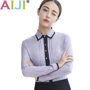 AIJI women's long sleeve work blouse turn-down collar shirts OL elegant solid Formal chiffon shirts ladies office wear tops