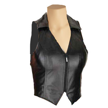 Collared leather vest