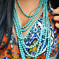 Round Turquoise Bead  Statement necklace