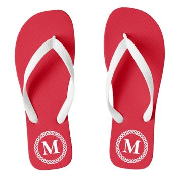 Red Braided Monogram Flip Flops