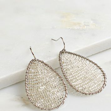 Teardrop Shaped Beaded Earrings Silver