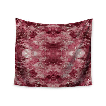 "Ebi Emporium ""Tie Dye Helix, Red "" Burgundy Abstract Wall Tapestry"