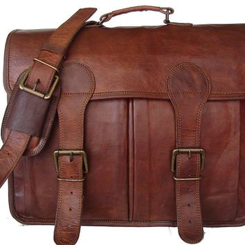 IN-INDIA Pure Leather Unisex Office Formal Travel Brown Laptop Messenger Bag - Fits Laptop