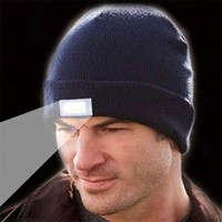 Knitted Beanie Sport Hats w/ 5 LED Light s s Unisex Winter Running Cap