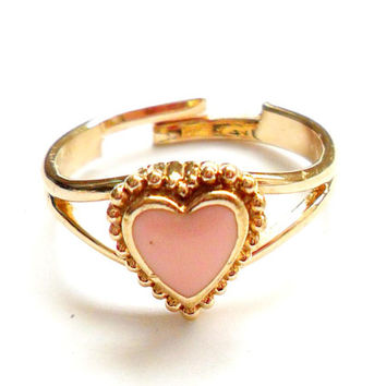 Vintage Enamel Heart Ring - Avon Signed Marked - Gold Tone Metal - Adjustable Size - Petite Dainty Feminine -